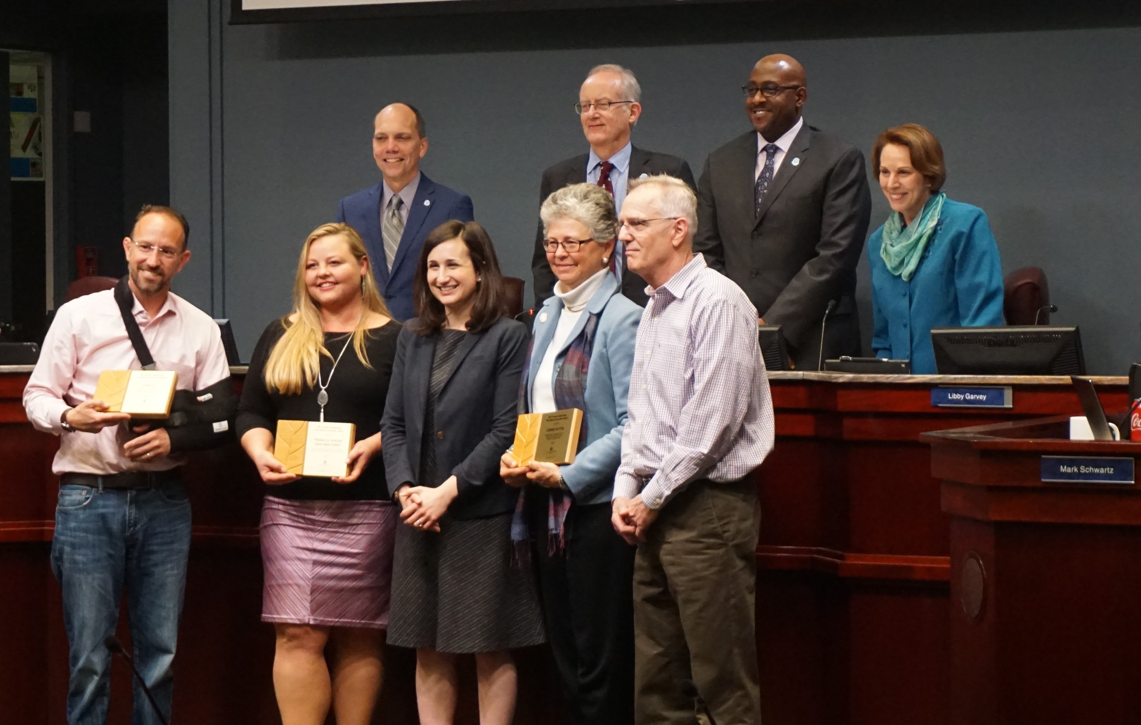 Photo of ARMN Member Joanne Hutton with all the 2017 Bill Thomas award winners