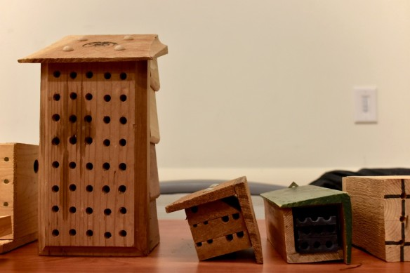 Photo of pre-made wooden bee hotels