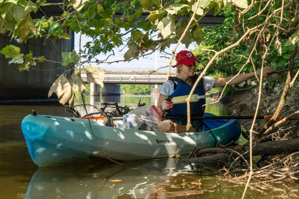 A woman in a kayak pulls trash from vegetation along the river bank