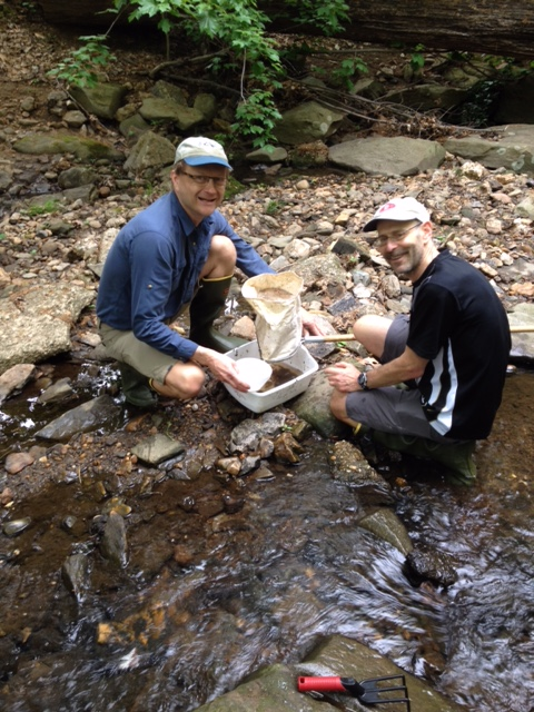 Photo of two volunteers surveying macroinvertebrates with a D-net in a creek