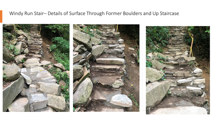 Windy Run Stair- details of surface through former boulders and uo staircase. Three photos show details of stairs repair.
