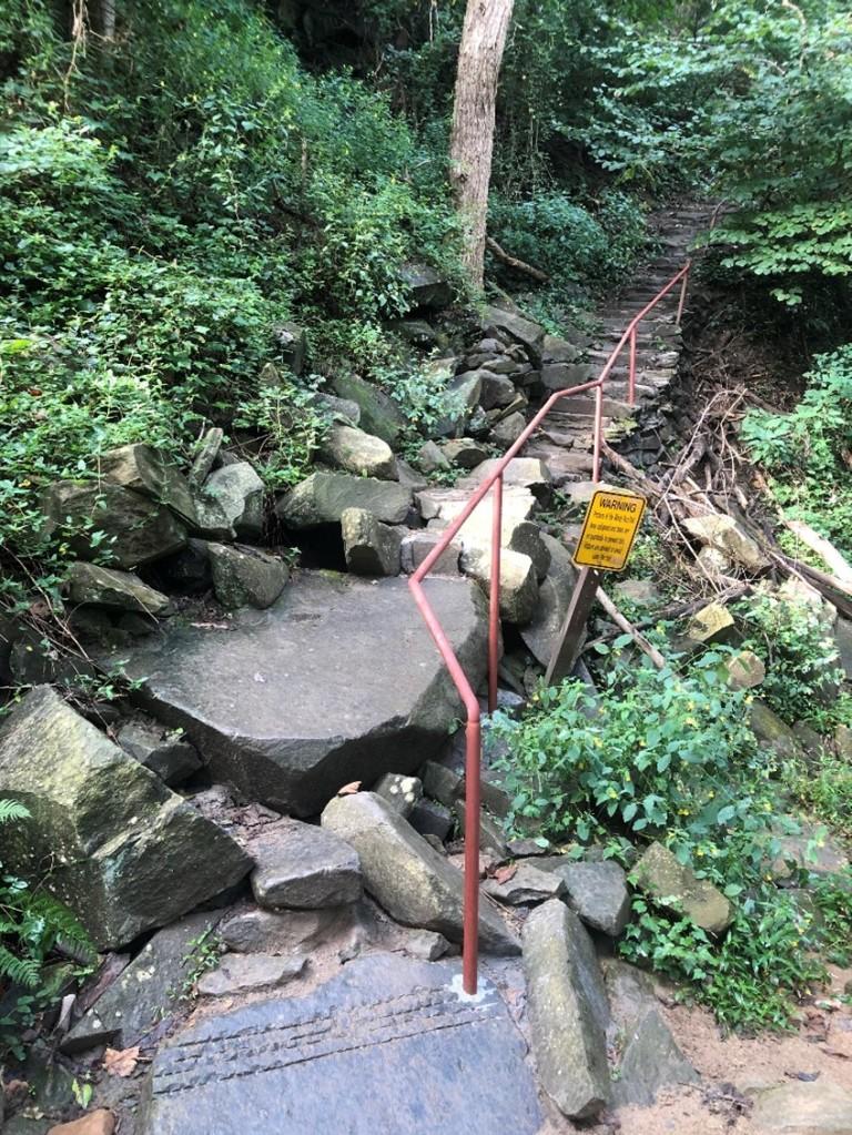 Photo of new railing along Windy Run stairs