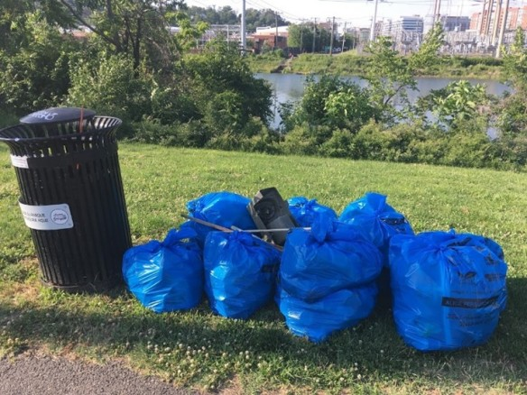 Photo of bags of litter collected during the stream clean up
